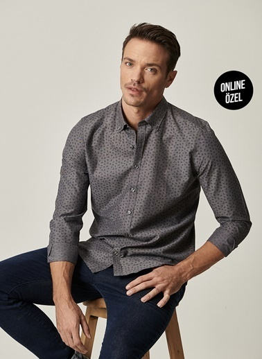 AC&Co / Altınyıldız Classics Tailored Slim Fit Düğmeli Yaka Baskılı Gömlek 4A2021100074 Antrasit